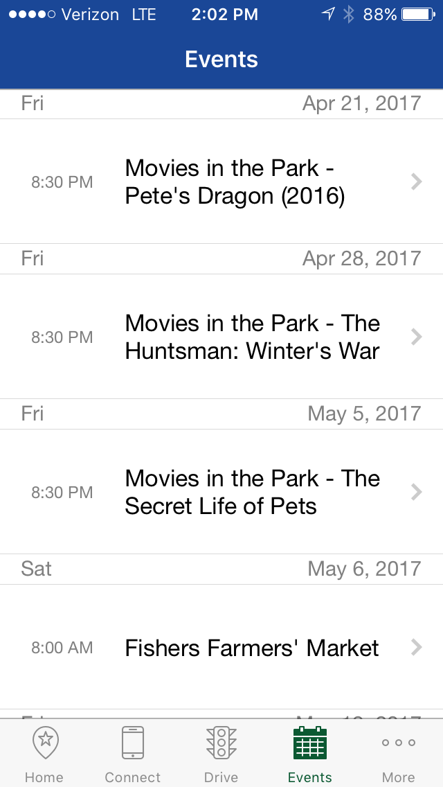 Events page screenshot