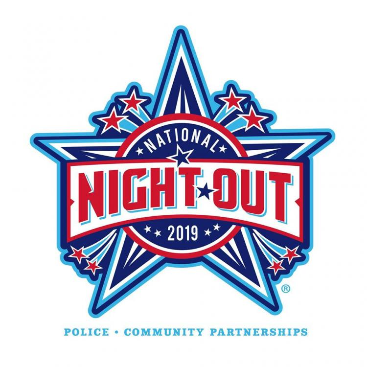 the logo for national night out, a star with text