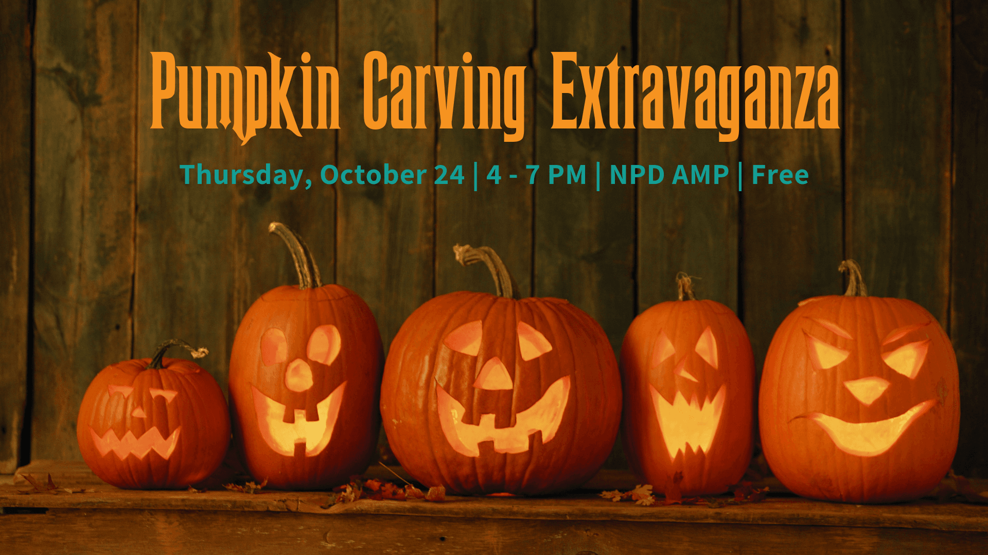Pumpkin Carving extravaganza, thursday, october 26, 4 - 7 pm | npd amp | free