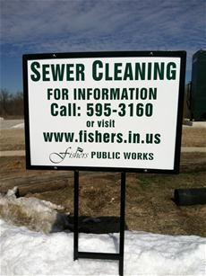 sewer cleaning notice sign