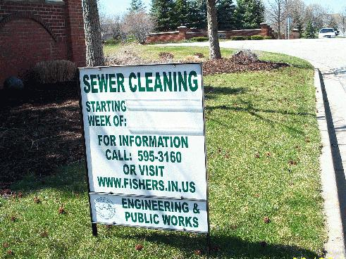 sewer cleaning sign